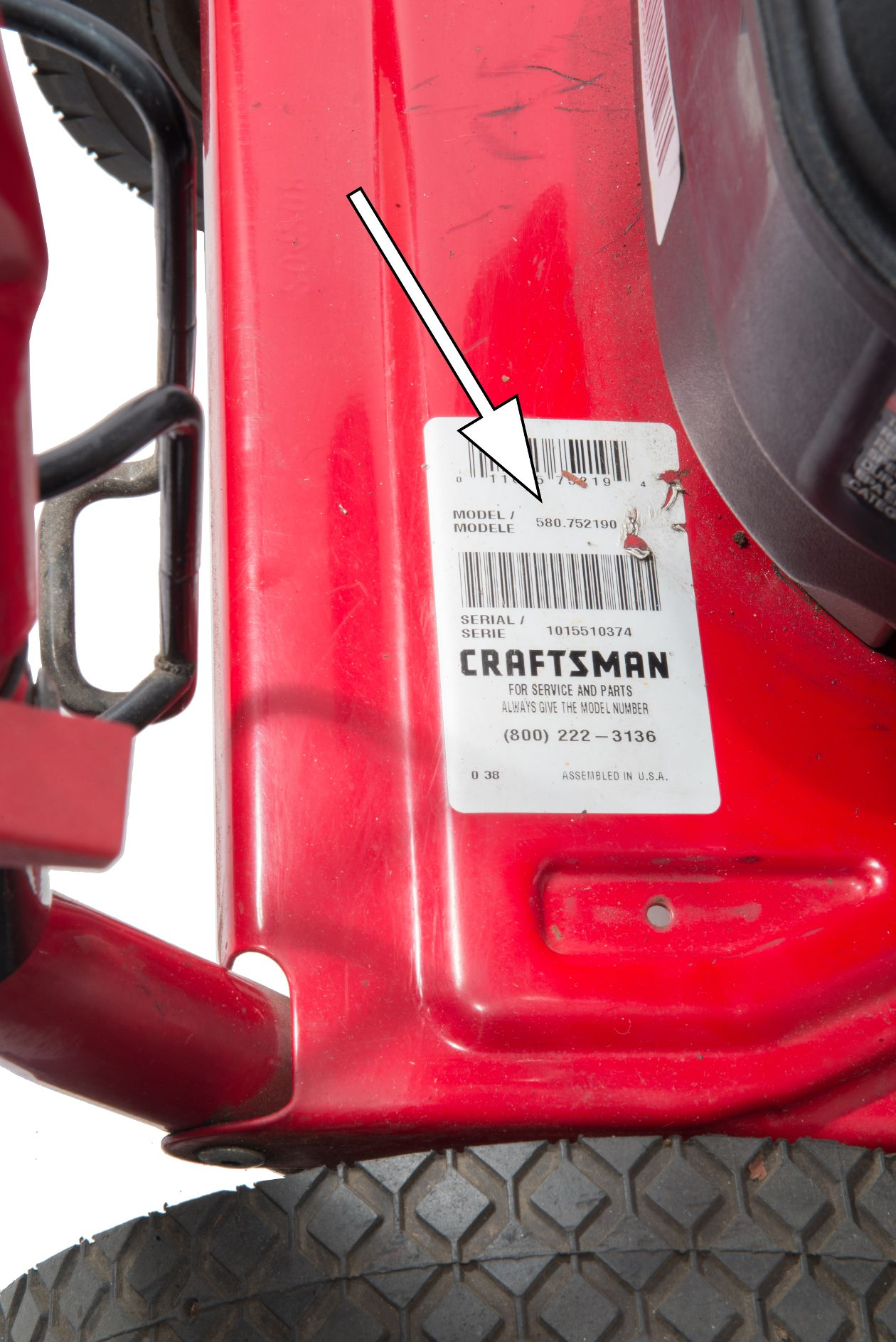 Craftsman model number sticker location